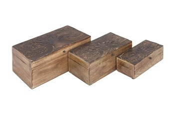Brown 6 Inch Wood Box Tree Set Of 3