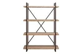 Brown 67 Inch Metal Wood Shelf