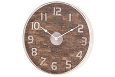Brown 18 Inch Metal Wood Wall Clock