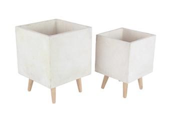 White 18 Inch Fiber Clay Wood Planter Set Of 2
