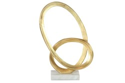 Gold 17 Inch Aluminum  Marble Abstract Loop Sculpture