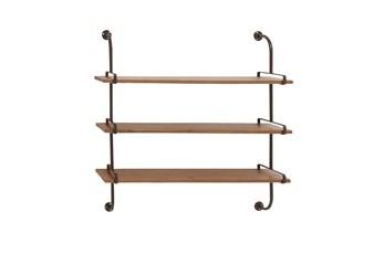 Brown 38 Inch Wood Metal Wall Shelf