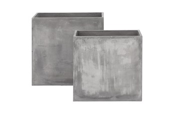 Grey 28 Inch Fiberclay Grey Planter Set Of 2