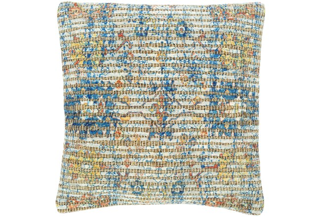 Accent Pillow-Jute Traditional Blue/Orange 18X18 - 360