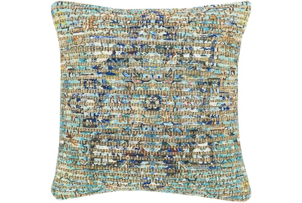 Accent Pillow-Jute Traditional Aqua 18X18