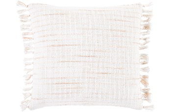 Accent Pillow-Side Fringe Soft Coral  18X18