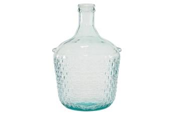 Blue 17 Inch Glass Wide Bottle Vase