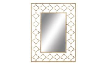 Gold 50 Inch Metal Quatrefoil Wall Mirror