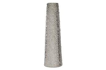 Silver 26 Inch Ceramic Beaded Vase
