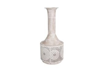 19 Inch White Wash Textured Circles Metal Vase