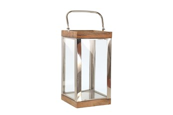 Outdoor 14 Inch Metal Wood Lantern