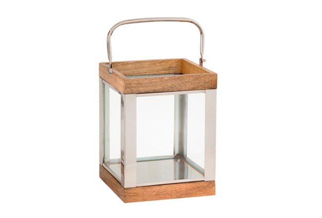 Outdoor 10 Inch Metal Wood Lantern - 360