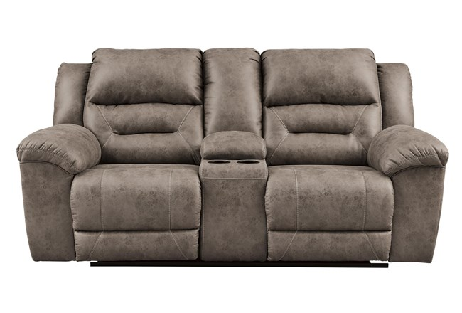 "Stoneland Fossil 82"" Reclining Loveseat With Console - 360"