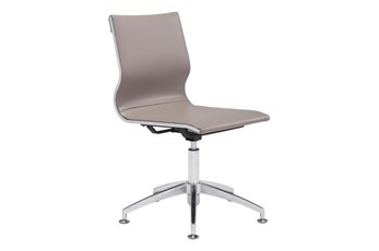Armless Taupe Desk Chair