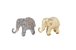 5 Inch Multi Metal Elephant Sculpture Set Of 2