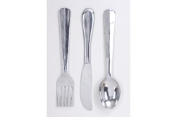 35 Inch Silver Metal Wall Decor Utensils Set Of 3