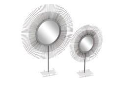Set of 2 Silver Metal + Acrylic Sunburst Mirrors