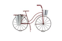 38 Inch Red Metal Bicycle Plant Stand