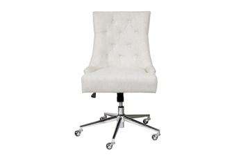 Beige Button Tufted Desk Chair