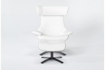 Raiden White Leather Reclining Swivel Chair