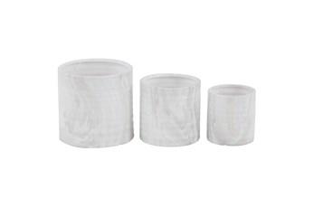 9 Inch White Ceramic Planter Set Of 3