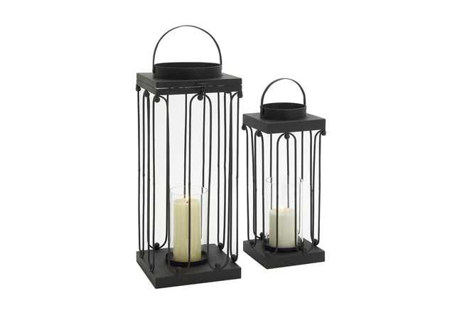 24 Inch Black Metal Glass Candle Lantern Set Of 2 - 360