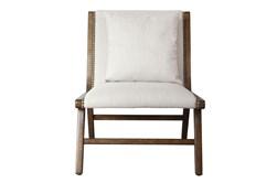 Linen + Wood Lounge Chair