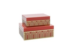 Coral And Gold Arch Design Box Set Of 2