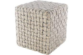 Pouf-Grey Cream Basket Weave