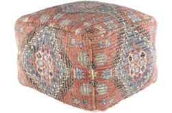 Pouf-Orange Blue Jute Blend