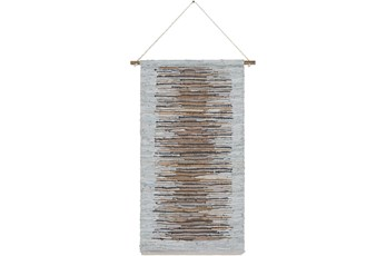 Wall Tapestry-Woven Leather Brown Grey 22X44