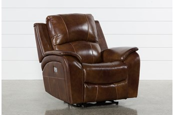Travis Cognac Leather Power Recliner With Power Headrest And USB