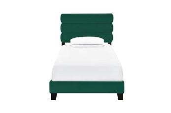 Twin Velvet Channel Upholstered Bed-Emerald
