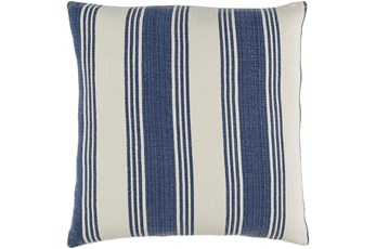 Accent Pillow-Navy And Cream Stripe 22X22