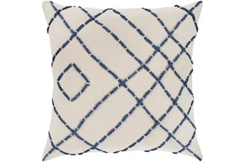 Accent Pillow-Cream With Navy Hand Embroidered 20X20