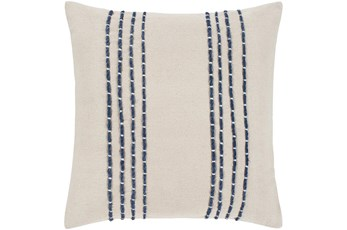Accent Pillow-Cream With Navy Hand Embroidered 22X22