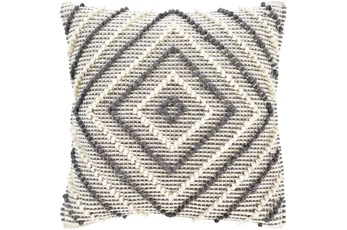 Accent Pillow-Cream And Grey Diamond 22X22