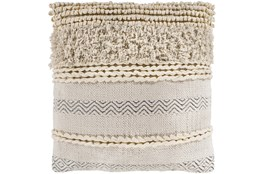 Accent Pillow-Beige Textured Stripes 18X18