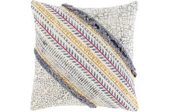 Accent Pillow-Multicolored Diagonalled Striped 18X18