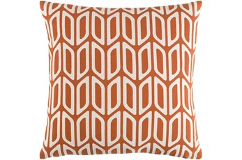 Accent Pillow-Burnt Orange And Cream Geometric 18X18