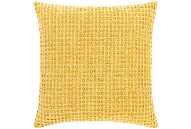 Accent Pillow-Bright Yellow Waffle Print 18X18 - 360