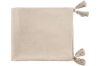 Accent Throw-Khaki With Corner Tassels