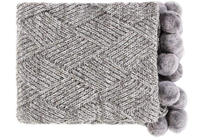 Accent Throw-Knitted Grey With Pom Poms - 360