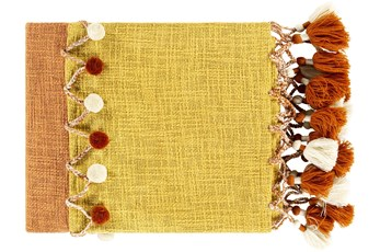 Accent Throw-Orange Yellow Stripe With Tassels