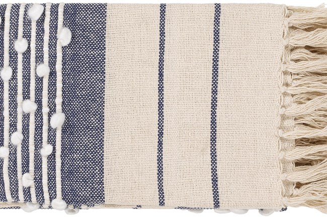 Accent Throw-Navy Plaid Fringe - 360