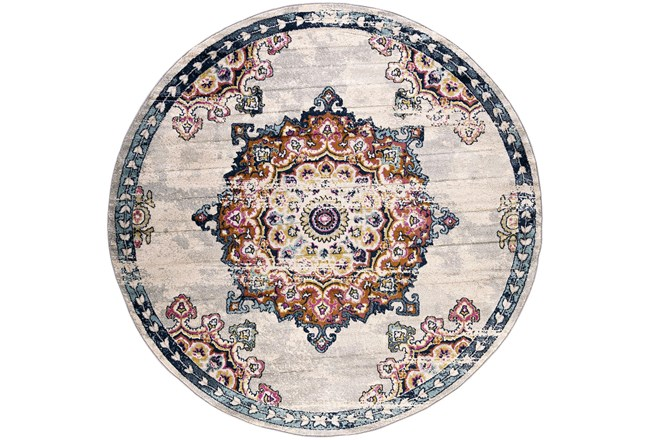63 Inch Round Rug-Traditional Bright Multicolored - 360