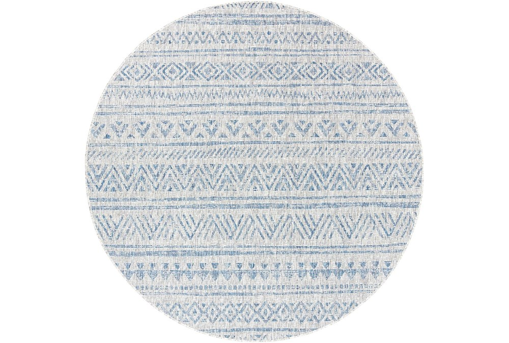 94 Inch Round Rug-Global Denim Stripe