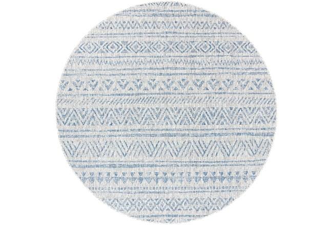 94 Inch Round Rug-Global Denim Stripe - 360