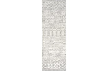 31X90 Rug-Global Grey And White Stripe