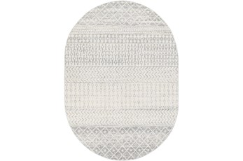 79X108 Oval Rug-Global Grey And White Stripe